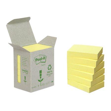 Öntapadó jegyzettömb, 38x51 mm, 6x100 lap, környezetbarát, 3M POSTIT, sárga