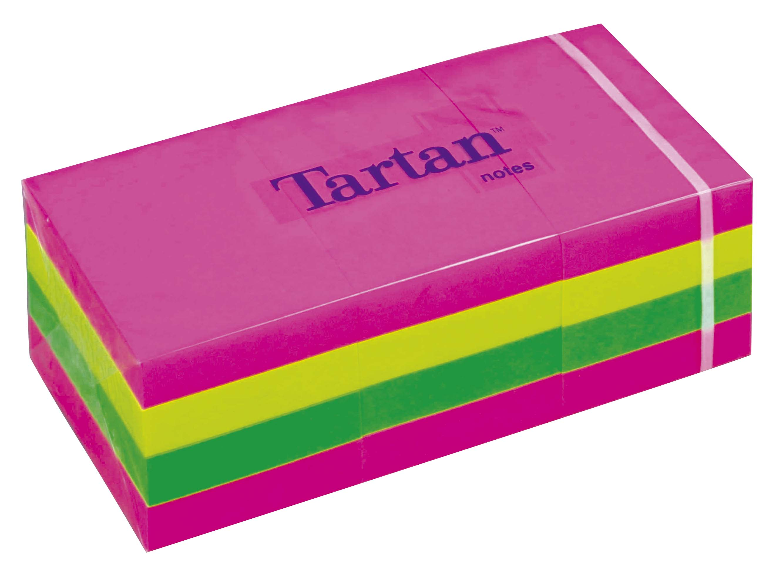 Öntapadó jegyzettömb, 38x51 mm, 100 lap, 12 tömb/cs, TARTAN, vegyes neon színek