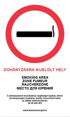 Információs matrica, 4 nyelven, Dohányzásra kijelölt hely