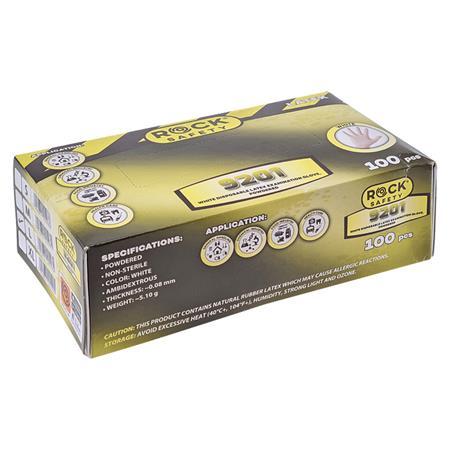 Védőkesztyű, egyszer használatos, latex, L-es méret, 100 db, púderezett Rock Safety