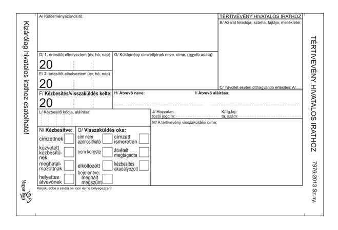 Nyomtatvány, tértivevény hivatalos irathoz, VICTORIA , 7976-2013