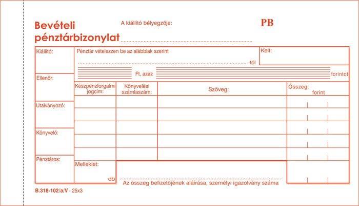 Nyomtatvány, bevételi pénztárbizonylat, 25x3, VICTORIA B.318-102, 10 tömb/csomag