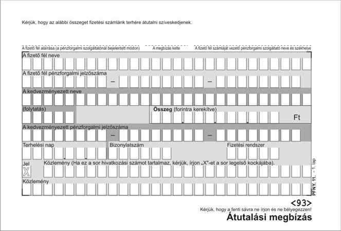 Nyomtatvány, átutalási megbízás, kézi, 500x2, A6, VICTORIA PFNY 11