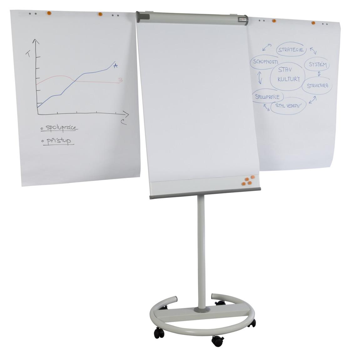 SPOKO flipchart tábla | mágneses | mobil | 2 db segédkar | 68x105 cm | S0717