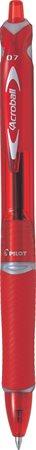 Golyóstoll, 0,25 mm, nyomógombos, PILOT Acroball, piros