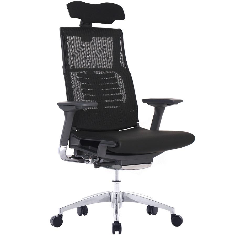 Pofit prémium főnöki forgószék | fekete váz | hálós háttámla és ülőlap | fejtámla | alumínium lábkereszt | fekete