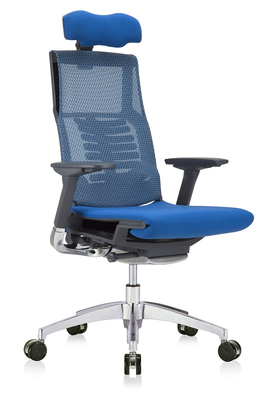 Pofit prémium főnöki forgószék | fekete váz | hálós háttámla és ülőlap | fejtámla | alumínium lábkereszt | kék