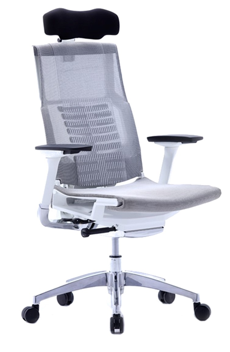 Pofit prémium főnöki forgószék | fehér váz | hálós háttámla és ülőlap | fejtámla | alumínium lábkereszt | sötétszürke