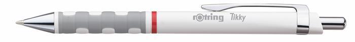 Golyóstoll, 0,8 mm, nyomógombos, fehér tolltest, ROTRING Tikky III, kék
