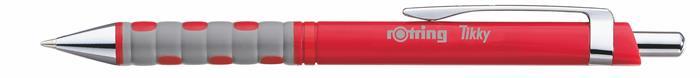 Golyóstoll, 0,8 mm, nyomógombos, piros tolltest, ROTRING Tikky III, kék
