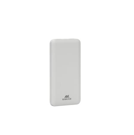 Hordozható akkumulátor, 2 db USB, 5000 mAh, RIVACASE VA2005, fehér
