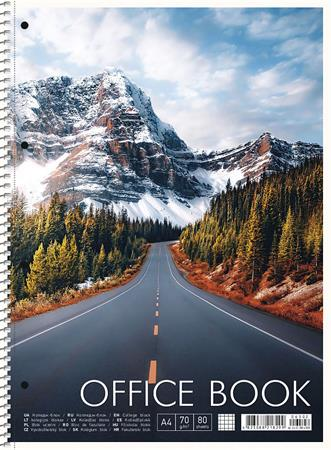 Spirálfüzet, A4+, kockás, 80 lap, SHKOLYARYK Office book, vegyes