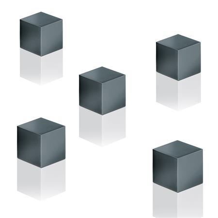 Mágnes, kocka, 11x11x11 mm, 5 db, SIGEL  Artverum®, titánszürke