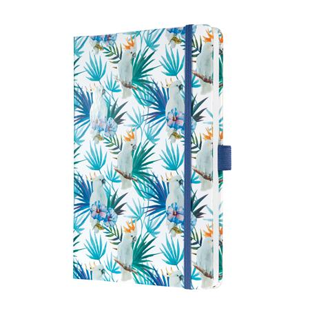 Jegyzetfüzet, exkluzív, 135x203 mm, vonalas, 87 lap, keményfedeles, SIGEL Jolie,  Indigo Tropics