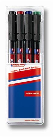 Alkoholos marker készlet, OHP, 0,3 mm, EDDING 140 S, 4 különböző szín