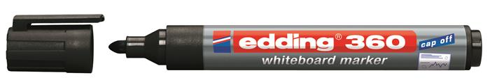 Tábla- és flipchart marker, 1,5-3 mm, kúpos, EDDING 360, fekete
