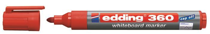 Tábla- és flipchart marker, 1,5-3 mm, kúpos, EDDING 360, piros