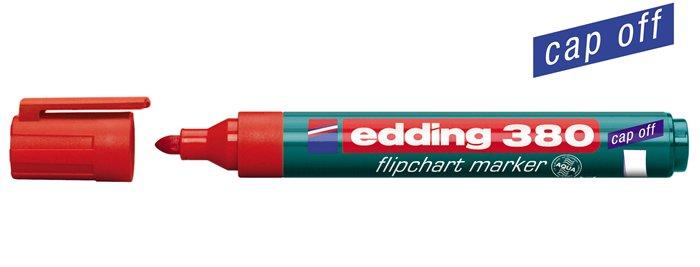 Flipchart marker, 1,5-3 mm, kúpos, EDDING 380, piros