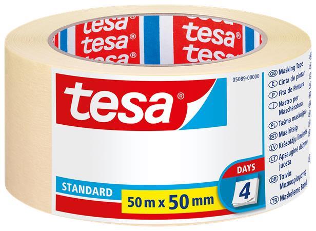 Festő- és mázolószalag, 50 mm x 50 m, TESA Standard 5089