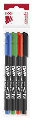 Alkoholos marker készlet, OHP, 2-3 mm, B, ICO, 4 különböző szín