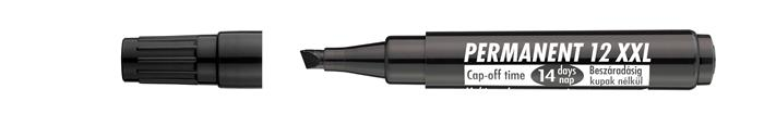 Alkoholos marker, 1-4 mm, vágott, ICO Permanent 12 XXL, fekete