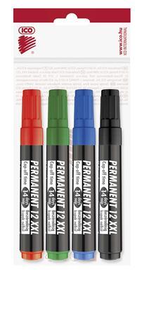 Alkoholos marker készlet, 1-4 mm, vágott, ICO Permanent 12 XXL, 4 különböző szín