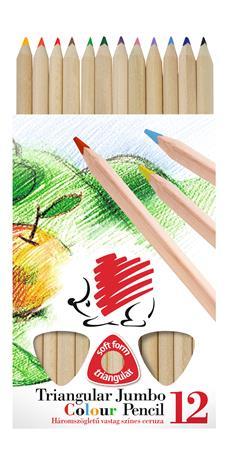 Színes ceruza készlet, háromszögletű, vastag, natúr, ICO Süni, 12 különböző szín