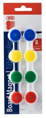 Mágneskorong, 20 mm, 8 db, ICO JY-20, 4 szín