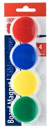 Mágneskorong, 40 mm, 4 db, ICO JY-40, 4 szín
