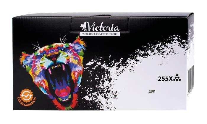 CE255X Lézertoner LaserJet P3015 nyomtatóhoz, VICTORIA 55X, fekete, 12,5k