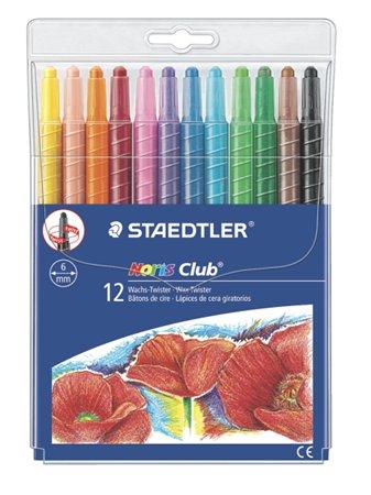 Zsírkréta, csavarós, STAEDTLER Noris 221, 12 különböző szín