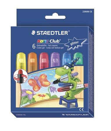 Zsírkréta, zselés, STAEDTLER Noris 2390, 6 csillogó szín