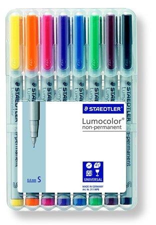 Alkoholmentes marker készlet, OHP, 0,4 mm, STAEDTLER Lumocolor 311 S, 8 különböző szín