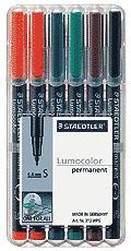 Alkoholos marker készlet, OHP, 0,4 mm, STAEDTLER Lumocolor 313 S, 6 különböző szín