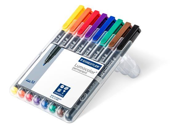 Alkoholos marker készlet, OHP, 1 mm, STAEDTLER Lumocolor 317 M, 8 különböző szín