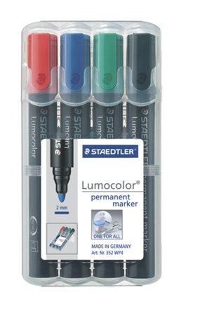 Alkoholos marker készlet, 2 mm, kúpos, STAEDTLER Lumocolor 352, 4 különböző szín