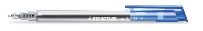 Golyóstoll, 0,3 mm, nyomógombos, STAEDTLER Ball 423 F, kék