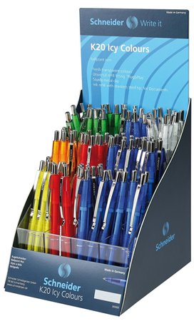 Golyóstoll display, 0,5 mm, nyomógombos, vegyes színű test, SCHNEIDER K20 Icy, kék