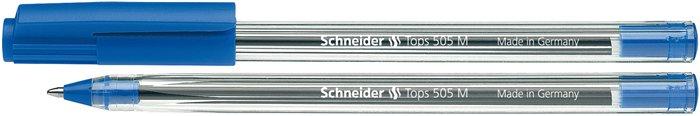 Golyóstoll, 0,5 mm, kupakos, SCHNEIDER Tops 505 M, kék