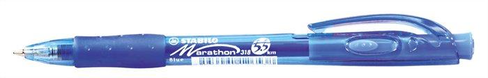 Golyóstoll, 0,38 mm, nyomógombos, STABILO Marathon, kék