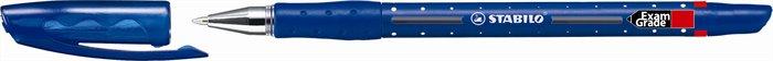 Golyóstoll, 0,45 mm, kupakos, STABILO Exam Grade, kék
