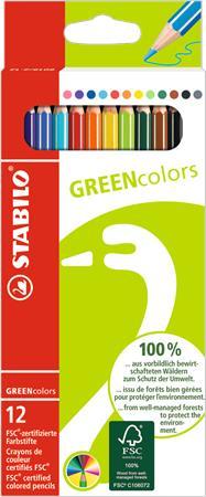 Színes ceruza készlet, hatszögletű, STABILO GreenColors, 12 különböző szín