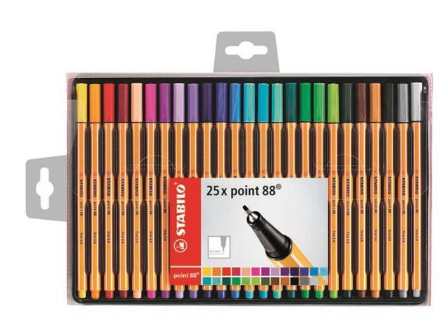 Tűfilc készlet, 0,4 mm, STABILO Point 88, 25 különböző szín