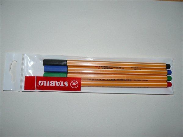 Tűfilc készlet, 0,4 mm, STABILO Point 88, 4 különböző szín