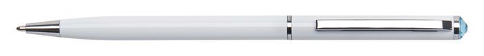 Golyóstoll, fehér SLIM, aquakék SWAROVSKI® kristállyal, 13 cm, ART CRYSTELLA®