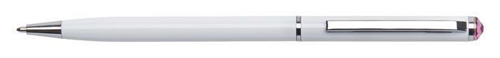 Golyóstoll, fehér SLIM, rózsaszín SWAROVSKI® kristállyal, 13 cm, ART CRYSTELLA®