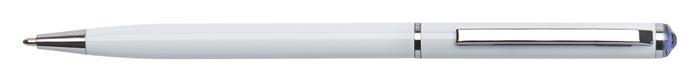 Golyóstoll, fehér SLIM, tanzanite lila SWAROVSKI® kristállyal, 13 cm, ART CRYSTELLA®