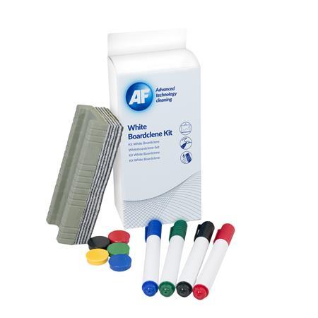 Tisztítófolyadék, táblához, szivaccsal, törlőkendővel, mágnessel, táblafilccel, 125 ml, AF Whiteboard cleaning kit