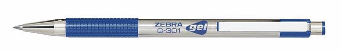 Zseléstoll, 0,38 mm, nyomógombos, ZEBRA G-301, kék