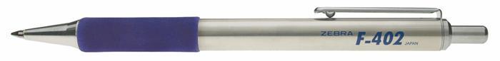 Golyóstoll, 0,24 mm, nyomógombos, rozsdamentes acél, kék tolltest, ZEBRA F402, kék